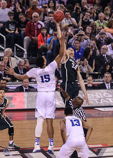 Champions, Duke Universtiy at tip off during the Final Four versus Michigan State University