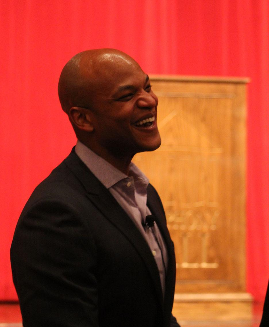 ALL SMILES: Author Wes Moore talked about his life in front of close to 200 people at the Springfield Forum in December.