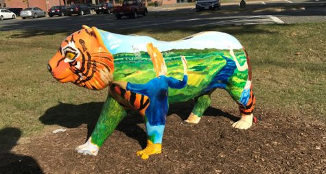 A South Hadley tiger featured outside the high school.
