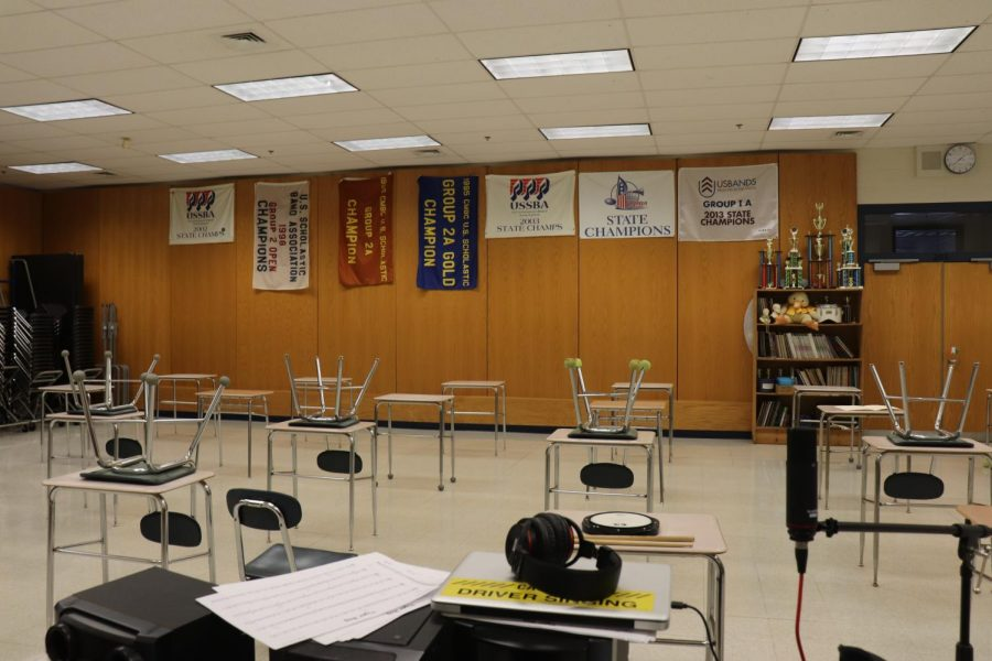 South Hadley High School's band room has been cleared out to be used as another classroom.